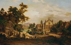 Italienische Landschaft mit Pilgern