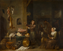 Kitchen interior with a boy and a woman with a table of game