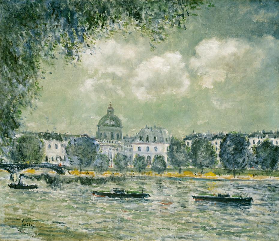 Landscape along the Seine with the Institut de France and the Pont des Arts