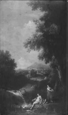 Landscape with a Waterfall and Two Women with a Boy Fishing