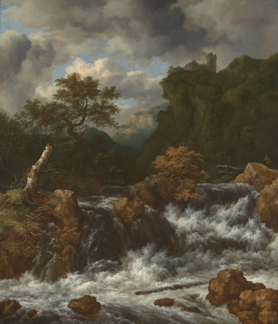 Landscape with waterfall and castle on a mountaintop