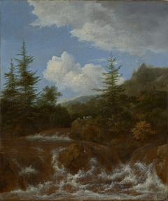Landscape with waterfall and pine trees