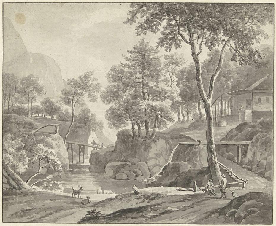 Landschap met rivier, wandelaars en vee