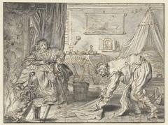 Man dweilt de vloer, terwijl zijn vrouw bij de haard zit