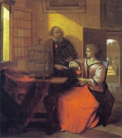 Man with a letter and a woman feeding a bird