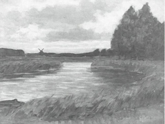 Meandering river, windmill in the distance