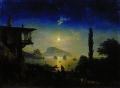 Moon night on the Crimea. Gurzuf.