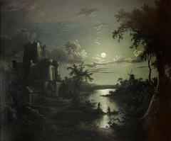 Moonlit River Landscape with a Castle, a Windmill, and Boatmen