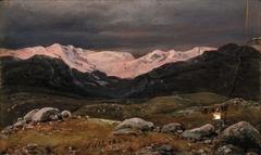 Mountains on Hardangervidda at Sunset