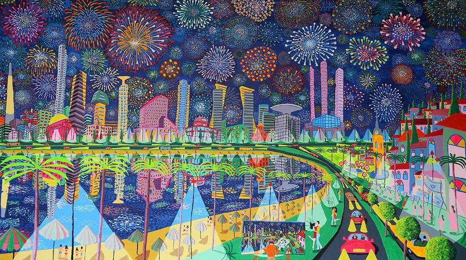 naive artist raphael perez folk painter urban lanscape painting israeli artist cityscape starry naight