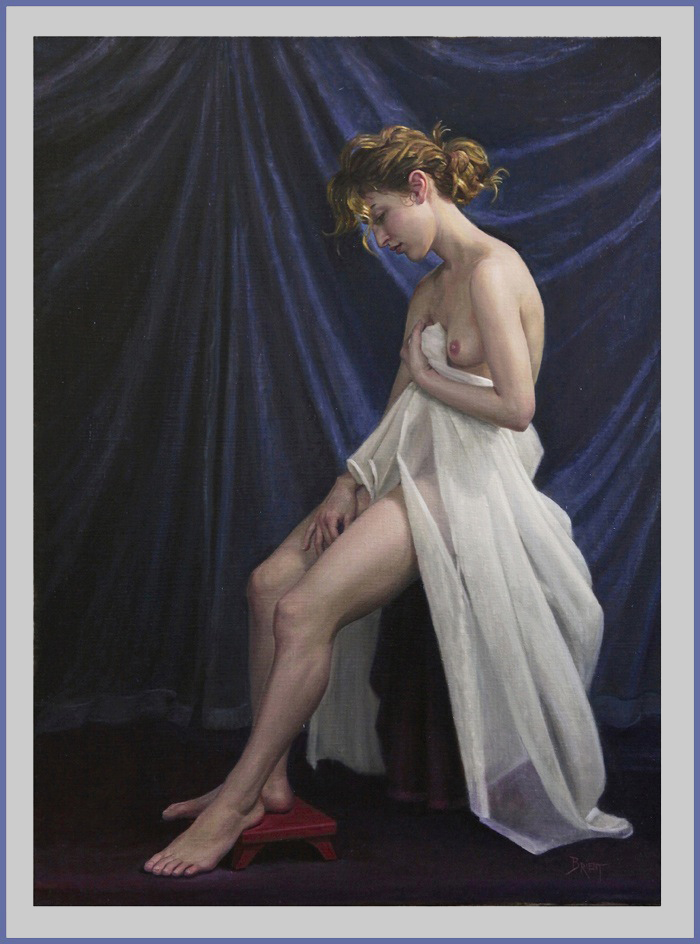 Seating nude with a white veil