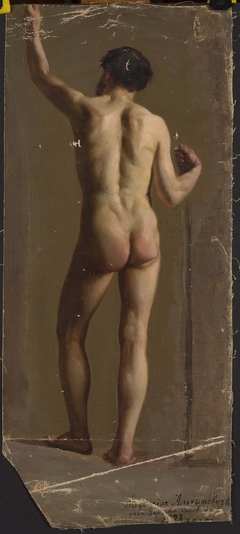 Nude of a standing man, back view