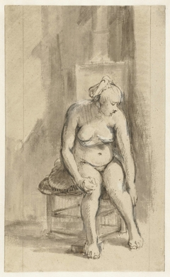 Nude Woman Seated by a Stove