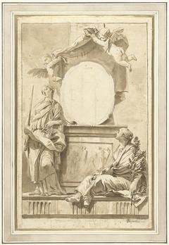 Ontwerp voor een titelblad met Pax en Justitia
