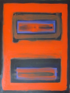 ORANGE OVER MAUVE FIELD 032411, 40in X 30in, Oil on Canvas, Steve Hendrickson; NFS; Collection: Andrea Hendrickson