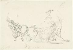 Paard met arrenslee en een aantal schetsen