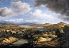 Panoramic view of a river landscape