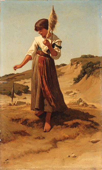 Peasant Girl Spinning