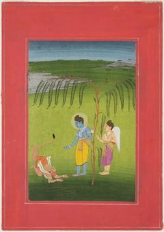 Rama Receiving Obeisance from Hanuman
