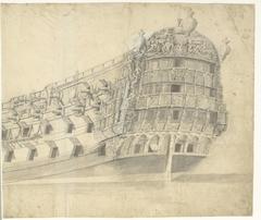 Rijkversierd Engels (?) fregat (rechterblad)