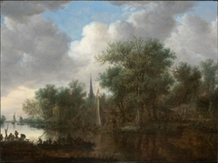 River landscape with boats and cottages on the bank