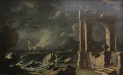 Ruines au bord de la mer. Effet d'orage (MG 878)