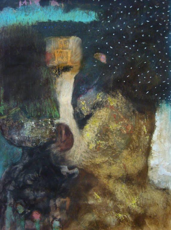 "Saatchi Art Artist: Evangelos Papapostolou; Acrylic 2014 Painting ""the sad robot and the curious fish"""