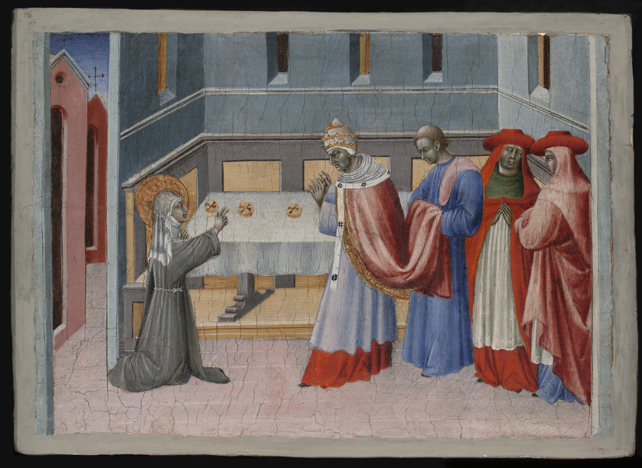 Saint Clare of Assisi Blessing the Bread before Pope Innocent IV