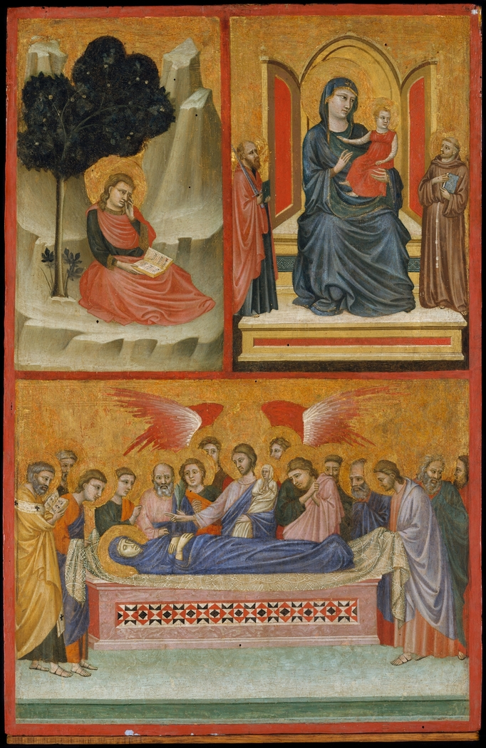 Saint John on Patmos, Madonna and Child Enthroned, and Death of the Virgin