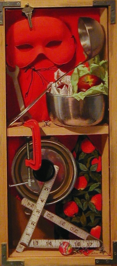 """Scarlet & Stainless Steel"" by Lydia Martin© (24""x8"") oil on linen and wood"