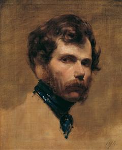 Selbstporträt mit blauer Halsbinde