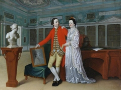 Sir Rowland Winn, 5th Bt (1739 - 1785) and his Wife Sabine Louise d'Hervart (1734 -1798) in the Library at Nostell Priory