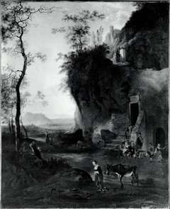 Southern Landscape with a Woman and a Donkey