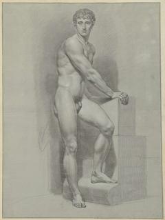 Staand mannelijk naakt, de armen op een blok
