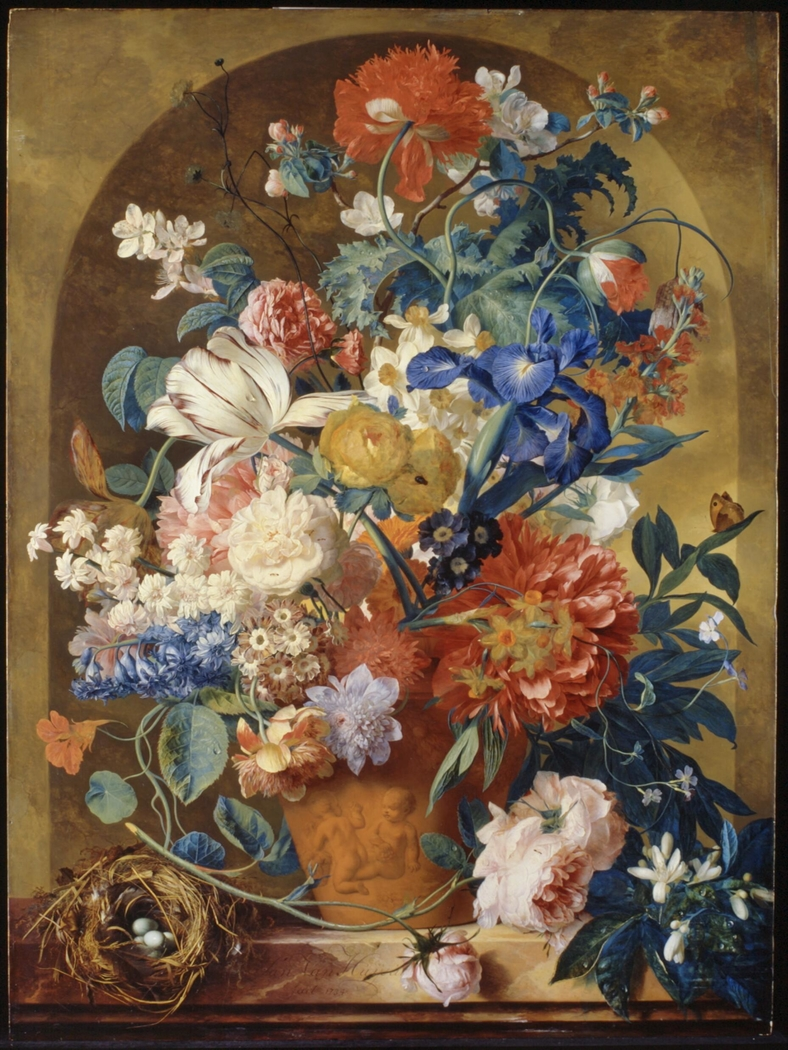 Still life of flowers in a terracotta vase, before a niche