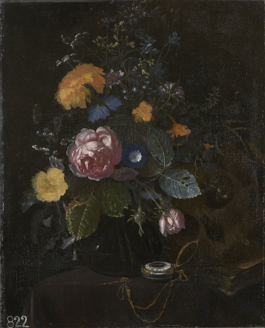 Still Life of Flowers with a Watch and Skull