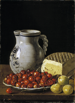 Still Life with a Plate of Cherries Plums a Pitcher and Cheese