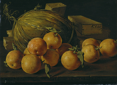 Still Life with Oranges Melon and Boxes of Sweets