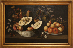 Still life with watermelon and pear