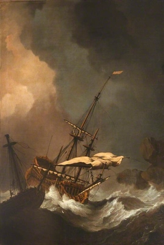 Storm: Two English Ships being Driven Ashore on to Rocks