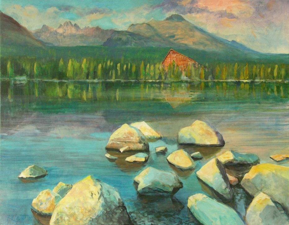 Strba tarn (Štrbské pleso) in the High Tatras, acrylic on canvas, 70x90 cm