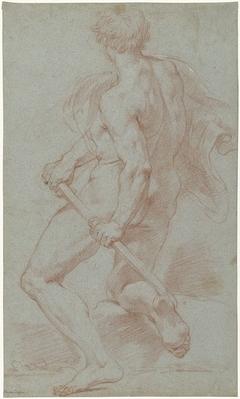 Studie van een knielende mannelijke naaktfiguur