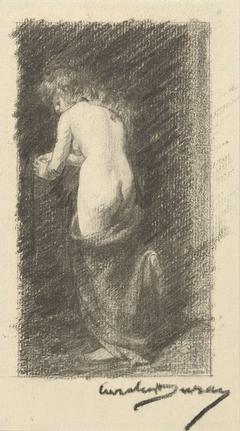 Studie van een naakte vrouw, gezien op de rug