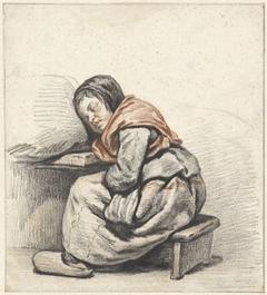 Studie van een slapend meisje