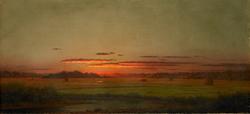Sunset, Haywagon in the Distance