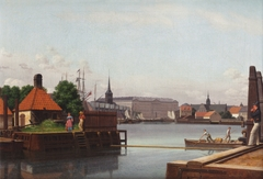 The Bourse, Christiansborg and Holmen's church, seen from the site of the Asiatic Company.