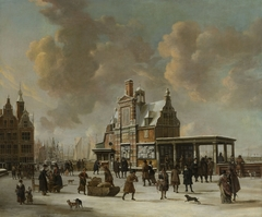 The Paalhuis and the Nieuwe Brug, Amsterdam, in the winter
