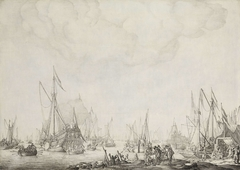 The Royal and State Yachts, possibly the Arrival of Charles II of England at Moerdijk, 1660