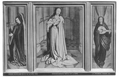 Triptych of Madonna lactans between an angel playing the harp and an angel playing the lute