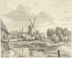 Twee jongens met een vlieger bij de Wal van Haarlem
